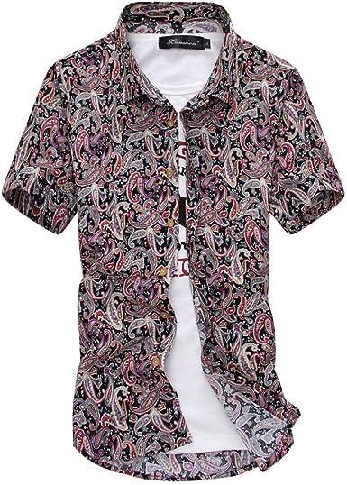 Camisa De Manga Corta con Estampado De Flores En Hawaii para Hombres Camisa Fina Casual (Sin Camiseta) A1: Amazon.es: Ropa y accesorios