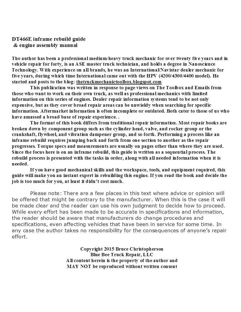 DT466E Inframe Rebuild Guide: bruce christopherson: 0713807372187:  Amazon.com: Books