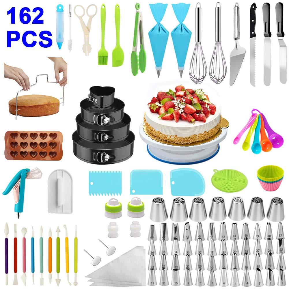 Cake Decorating Supplies,162 PCS Cake Decorating Kit 4 Packs Springform Cake Pans, Cake Rotating Turntable,48 Piping Icing Tips,7 Russian Nozzles, Baking Supplies,Cupcake Decorating Kit