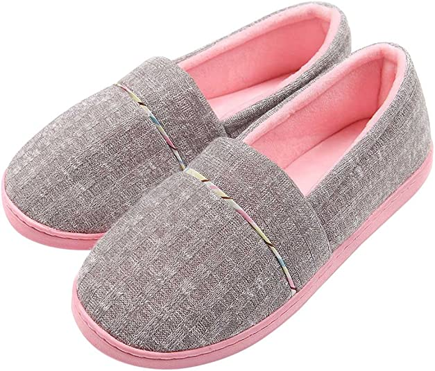 BUYITNOW Mens House Cotton Slippers Knitted Anti-Slip Autumn Winter Breathable Indoor Shoes