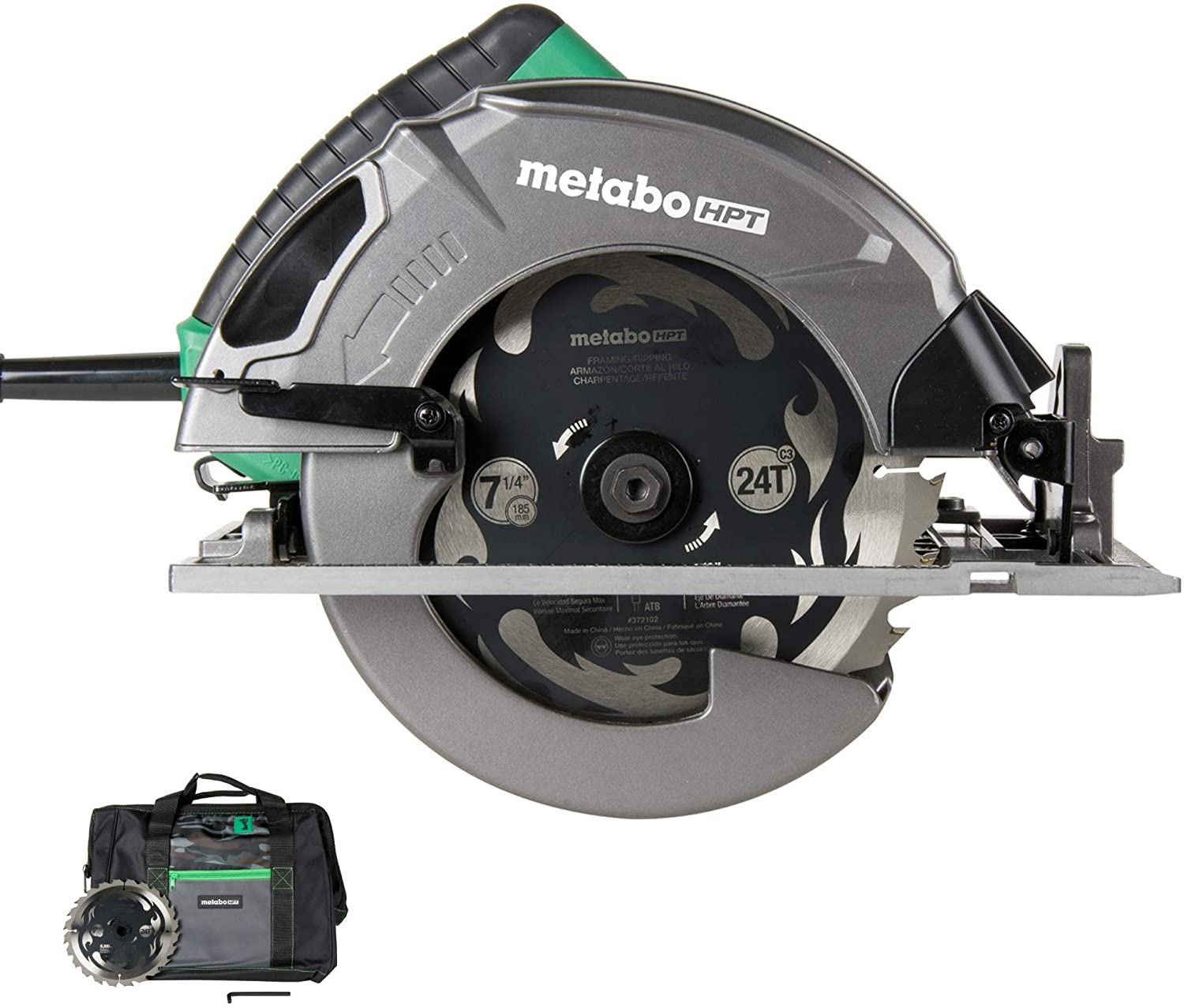 Amazon Com Metabo Hpt 7 1 4 Circular Saw Kit 6 000 Rpm 15 Amp Motor Integrated Dust Blower 24t Premium Framing Ripping Blade Single Handed Bevel Adjustment C7sb3 Home Improvement