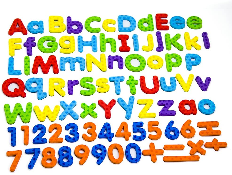 MAGTiMES Magnetic Letters and Numbers for Educating Kids in Fun -Educational Alphabet Refrigerator Magnets -112 Pieces (Letters and Numbers): Toys & Games