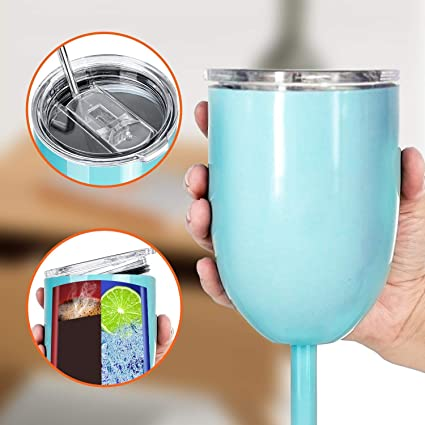 01dc558e1ec All Occasions - 2019 Stainless Steel Wine Glass With Lid And Straw 10 oz,  Double Walled Design, Insulated Tumbler Keeps Cold And Hot (Teal)