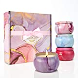 Scented Candles Gift Set, Travel tin Nature 4.4oz Soy Wax Candles with Fragrance Essential Oils for Aromatherapy, Relaxation,