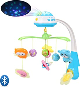INTMEDIC Baby Musical Crib Mobile with Star Projection, Bluetooth, Volume Control for Newborn 0-24 Months Sleep