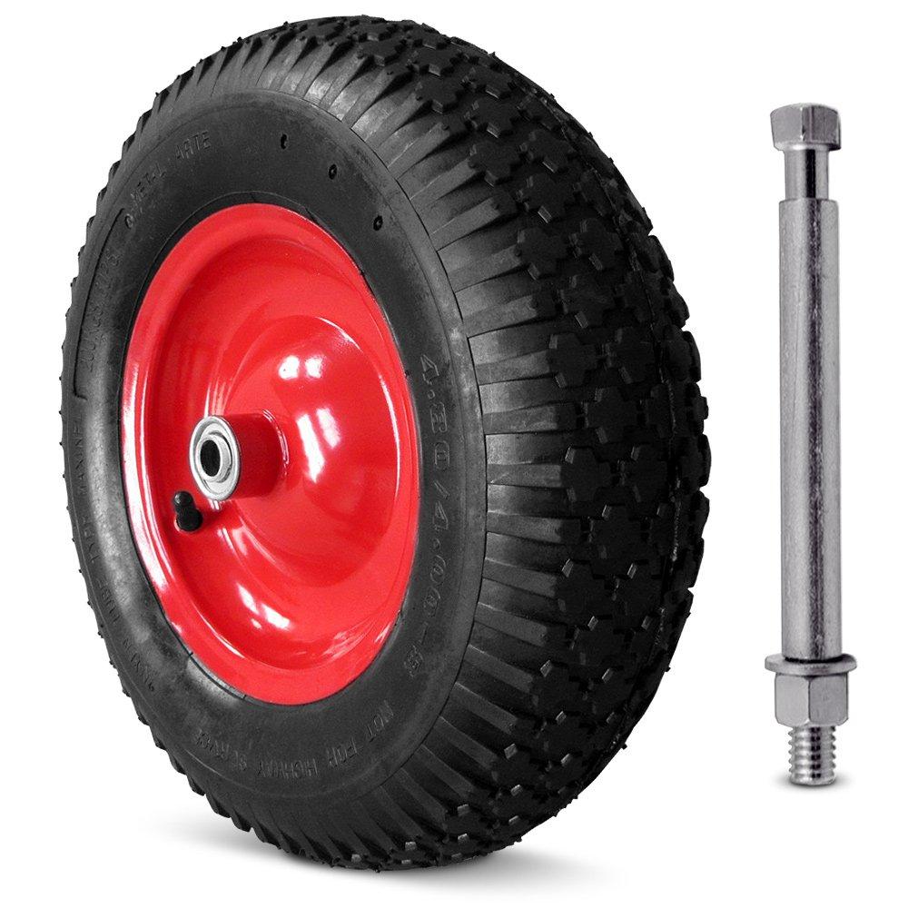 Wheelbarrow Wheel Tyre with Axle / 4.8 4 -8 400PR Tires Single Pneumatic Trolley Cart Replacement Wheel Deuba