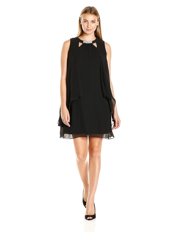 Black S.L. Fashions Womens Sleeveless Cutout Pearl Neck Dress