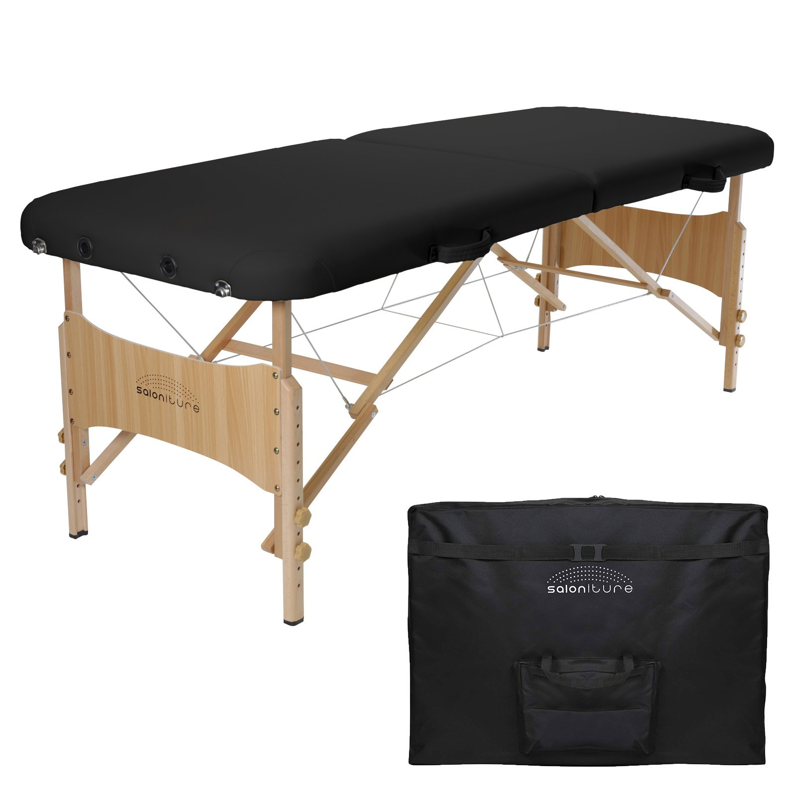 Saloniture Basic Portable Folding Massage Table - Black by Saloniture
