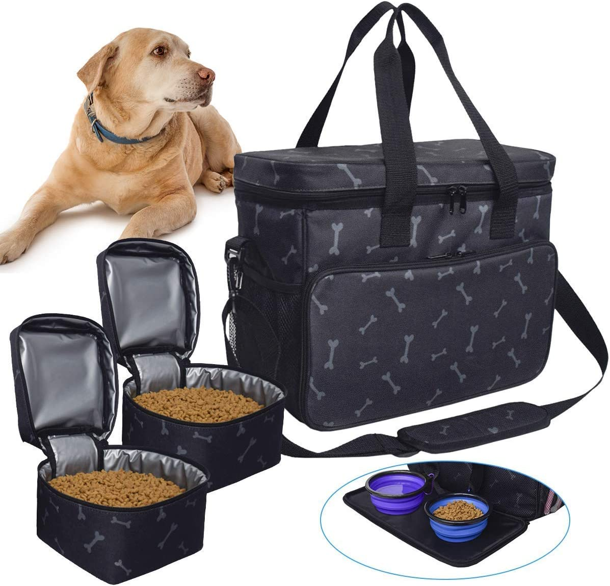 BicycleStore Dog Travel Bag, Washable Pet Food Carrier Storage Bags Cat Treat Diaper Carrying Bag Accessories Equipment Sling Bag Organizer with Multi-Function Pockets 2 Food Storage Containers