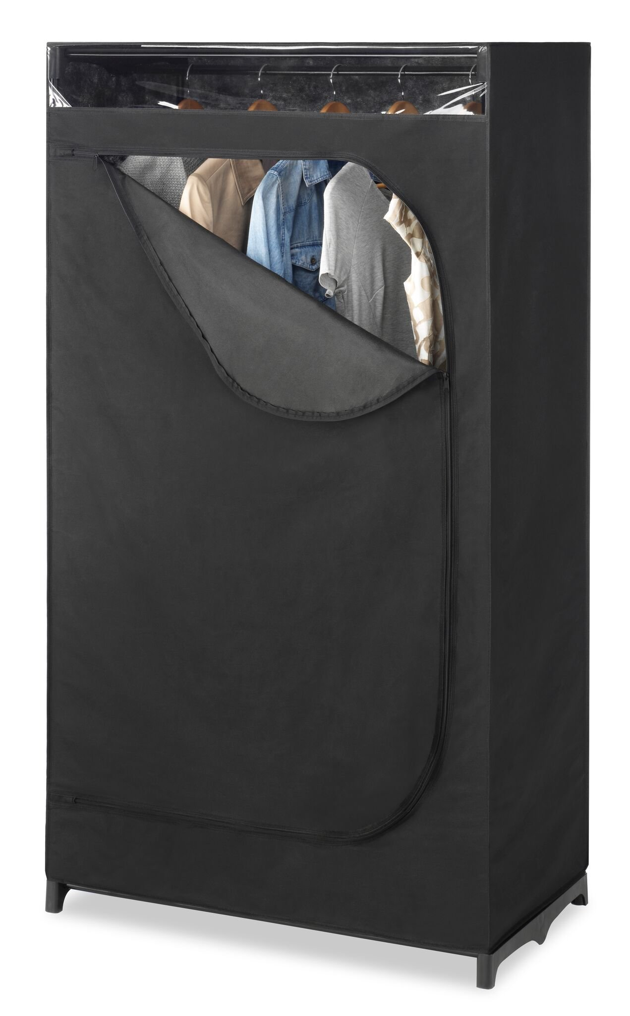Whitmor Portable Wardrobe Clothes Closet Storage Organizer with Hanging Rack - Black Color - No-tool Assembly - See Through Window - Washable Fabric Cover - Extra Strong & Durable - 19.75 x 36 x 64'' by Whitmor