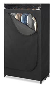 Whitmor Portable Wardrobe Clothes Closet Storage Organizer with Hanging Rack - Black Color - No-tool Assembly - See Through Window - Washable Fabric Cover - Extra Strong & Durable - 19.75 x 36 x 64""