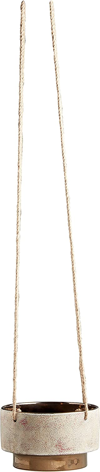 """Amazon Brand – Rivet Mid-Century Modern Stoneware Indoor Hanging Planter Flower Pot with Rope, 5""""H, Speckled White and Gold"""