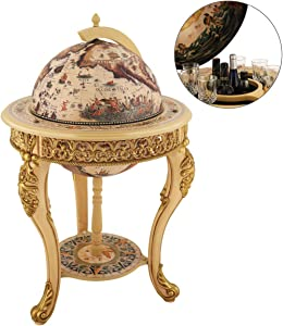 "VIDAR Sixteenth-Century Italian Replica 17.7"" Diameter Old World Map Parchment Globe Bar Wine Holder 3 Legs in Engraved Golden Composite Plastic Finish,41"" Wine Cabinet"