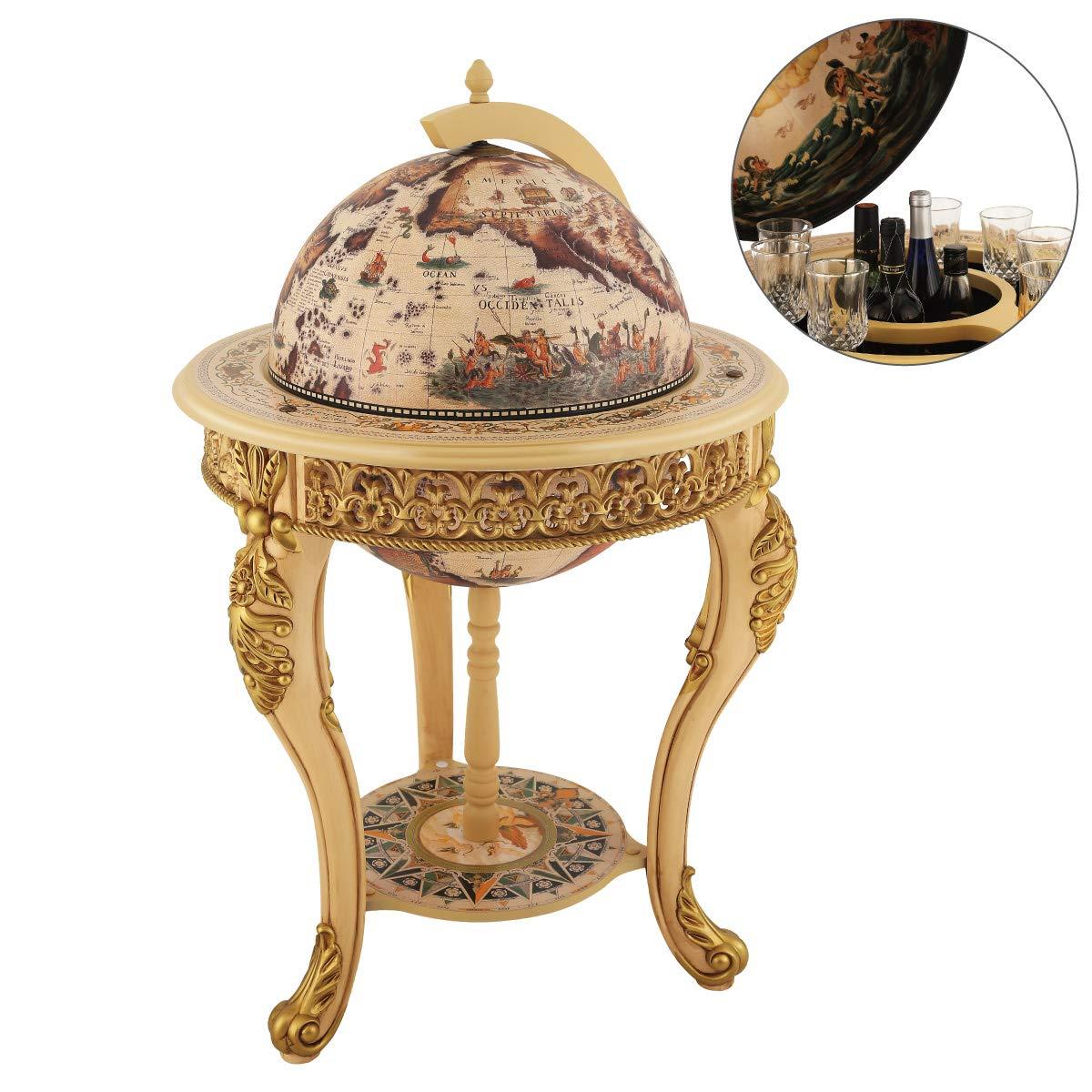 VIDAR Sixteenth-Century Italian Replica Old World Map Parchment Globe Bar Wine Holder 3 Legs in Engraved Golden Composite Plastic Finish by VIDAR