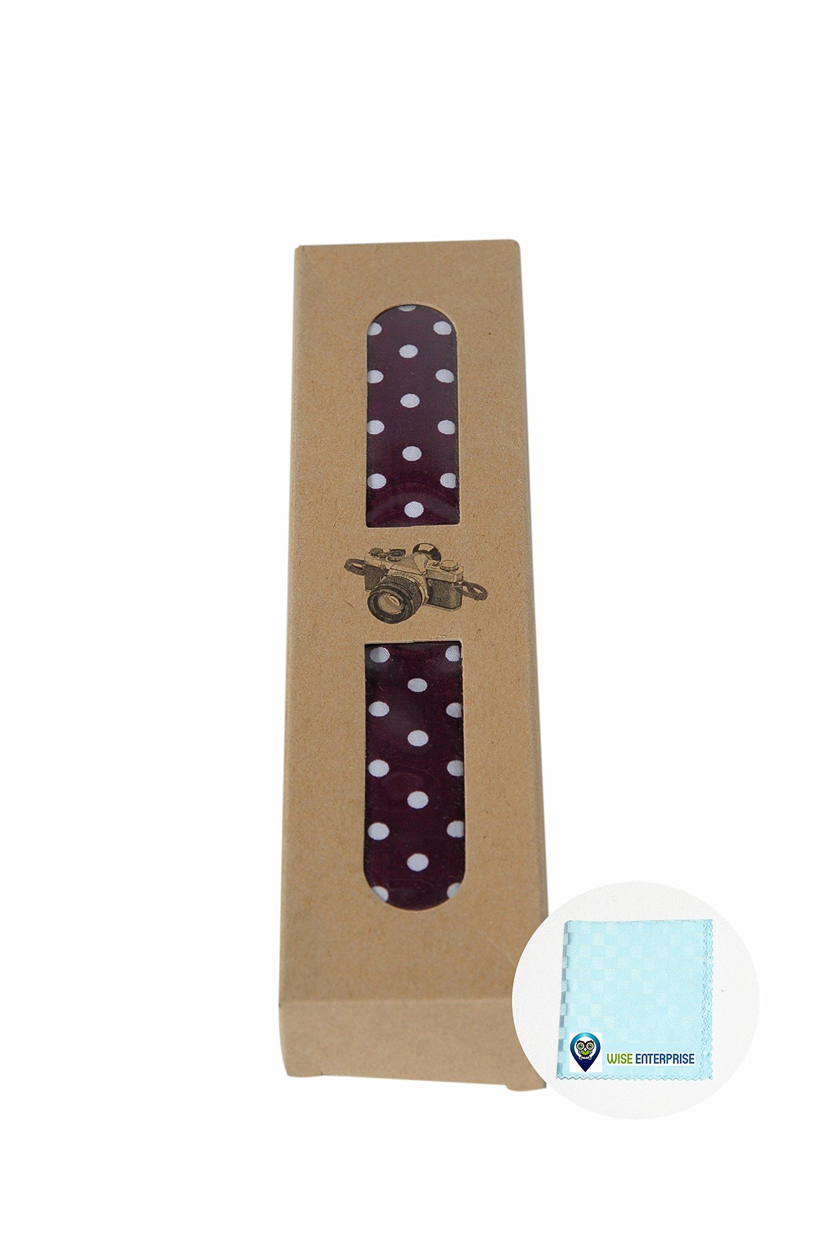 Holiday Shutterbugs Camera Strap Sale - Polka Dot Delight - Maroon - Wise Enterprise - Ladies Quality Custom Colorful Designer Vintage Adjustable Shoulder Neck Strap DSLR & Video Cams