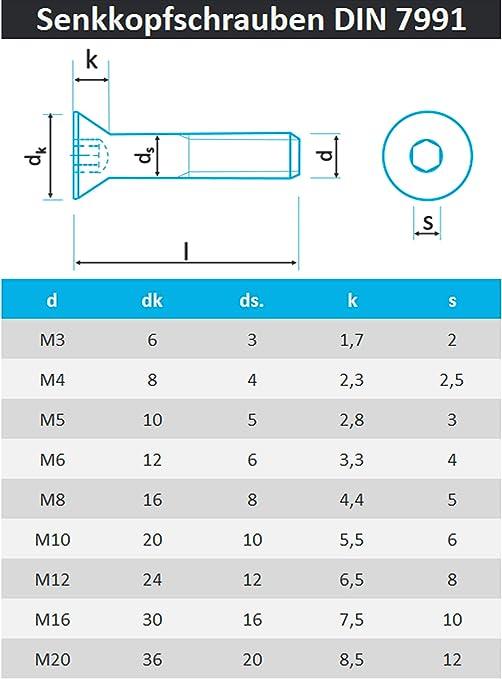 ISK Senkkopfschrauben M10 X 55 DIN 7991 mit Innensechskant 20 St/ück Edelstahl A2 - V2A Senkschrauben mit Vollgewinde