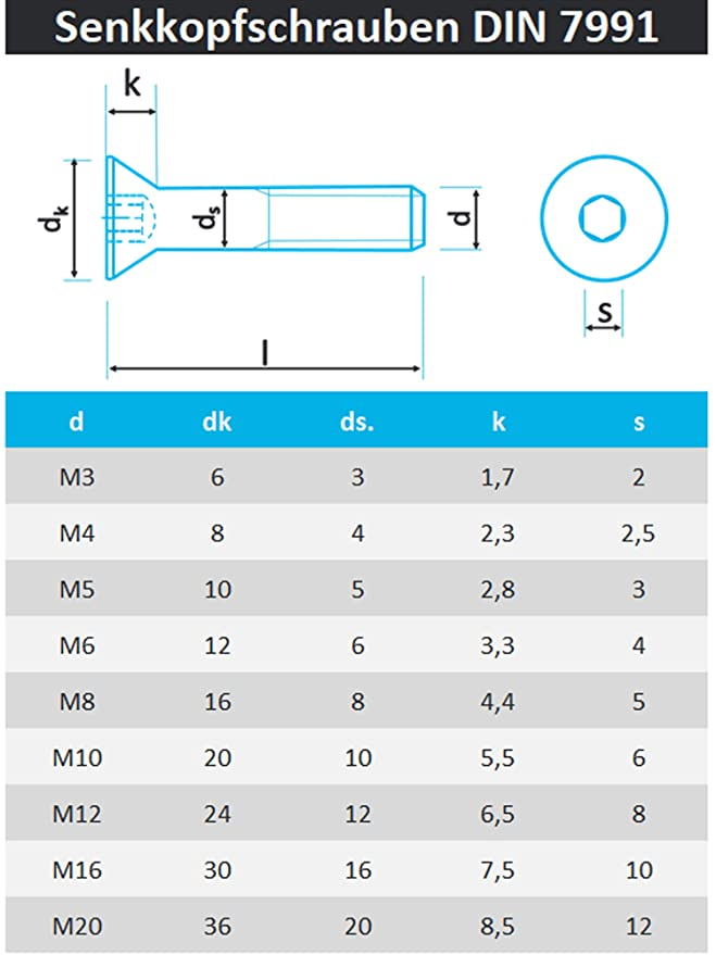 Senkkopfschrauben DIN 7991 Edelstahl VA ISK M5 M6 M8 M10 M12  Senkschrauben