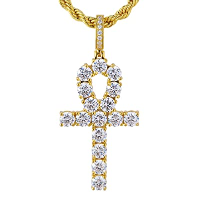 Halskette Anhänger Anch Ankh Kreuz Gliederkette Silbern Damen Schlangenkette