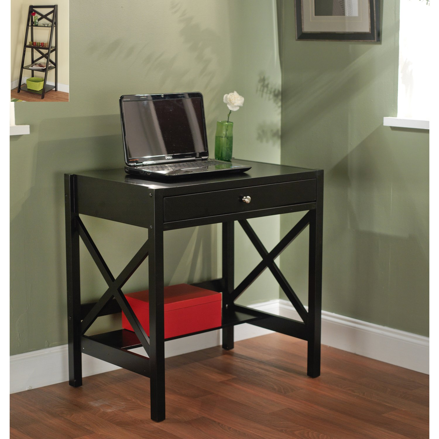 Simple Living - Best Choice Wooden Black Writing Desk with 1 Drawer and Shelf (Classic X Design) by Simple Living Products (Image #1)