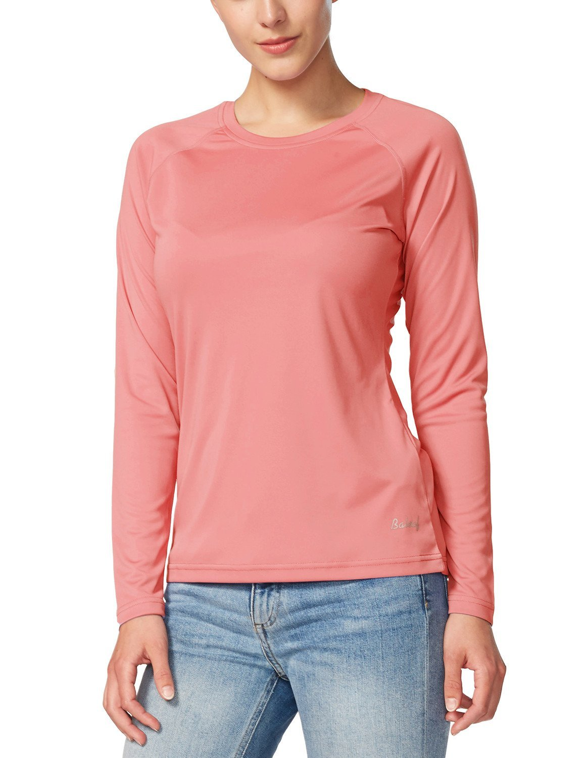 Baleaf Women's UPF 50+ Sun Protection Long Sleeve Outdoor Performance T-Shirt Pink Size S