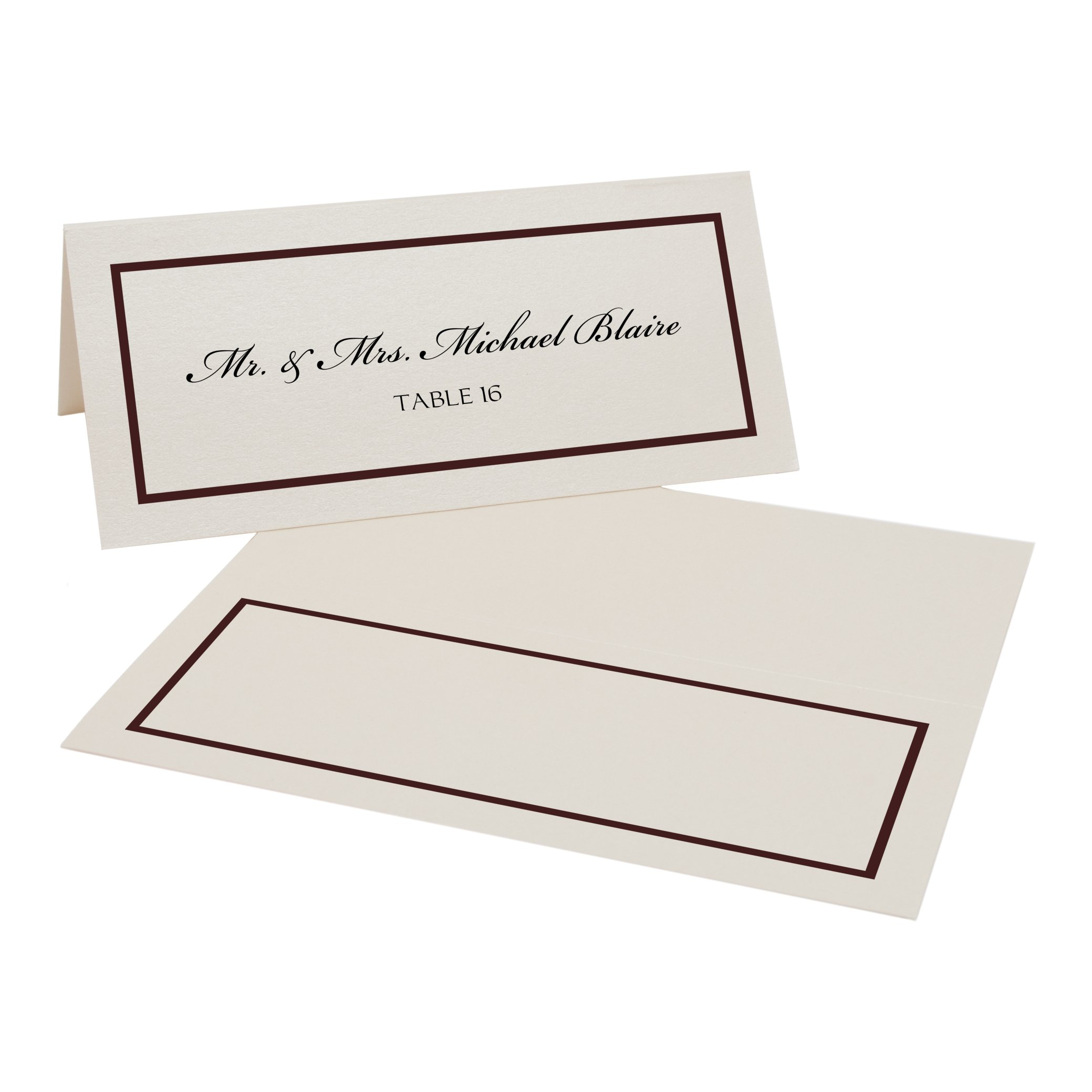 Single Line Border Place Cards, Champagne, Chocolate, Set of 375 by Documents and Designs