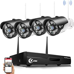 XVIM Wireless Security Cameras System, 4CH Video Security System with 4pcs 1080P(2.0 Megapixel) Indoor/Outdoor Wireless IP Cameras 85ft Night Vision,No Hard Drive