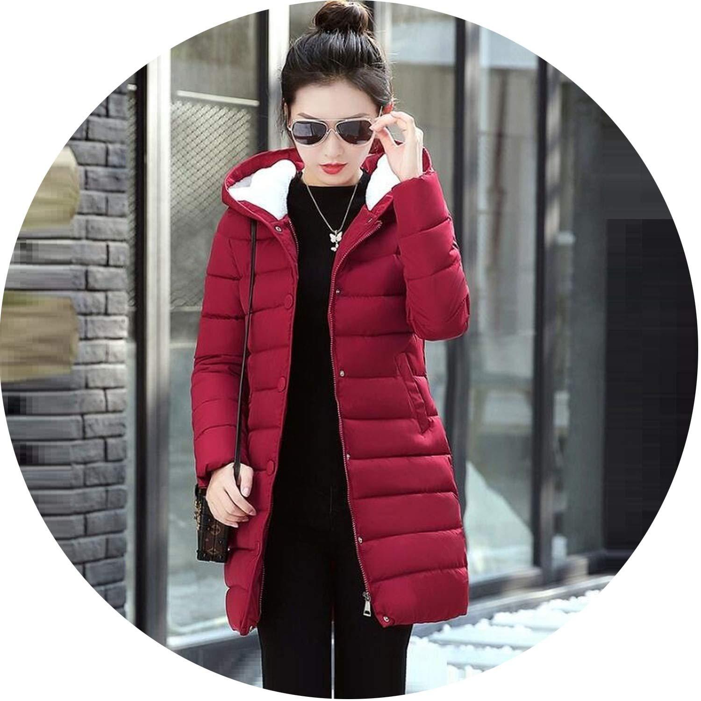 Burgundy Women Jacket Winter Coats Elegant Down Jacket Thick Winter Coat Women Slim Parkas Warm Outwear