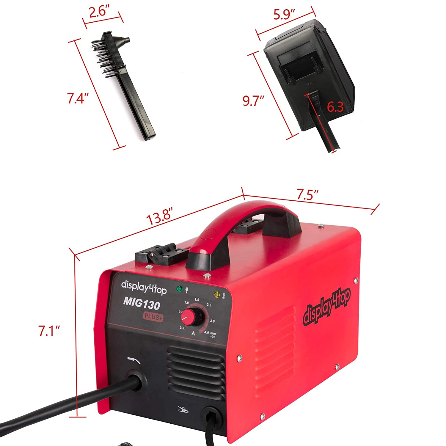 Display4top Portable No Gas MIG 130 PLUS Welder Flux Core Wire Automatic Feed Welding Machine,DIY Home Welder w//Free Mask 110V