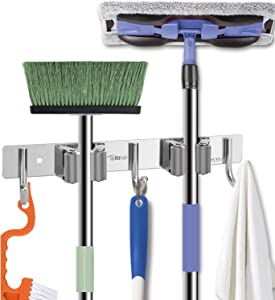 Broom Mop Holder Wall Mounted, Garden and Garage Tools Organizer and Storage, Heavy Duty Stainless Steel Rack Hooks for Home Kitchen Laundry Room Bathroom Closet Decor Cleaning Supplies Organization