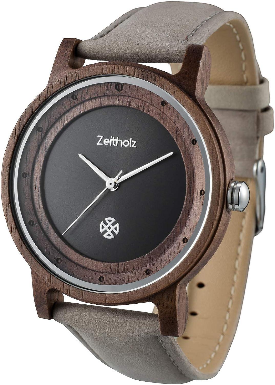 Zeitholz Reloj de madera para hombre, bastón Eiben/correa de piel/caja de madera de sándalo/sostenible/hecho a mano