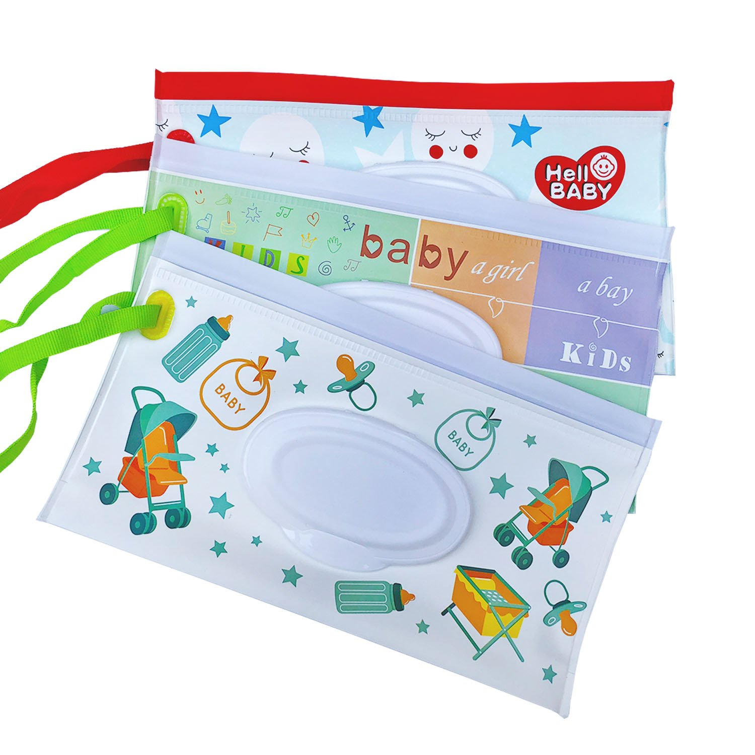 Reusable Wet Wipe Pouch Travel Wipes Dispenser for Baby Eco Friendly Wipe Pouches, Great for Travel (3 Pack) (GG)