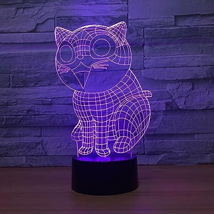 Amazon Com Aetd Cute Cat 3d Lamp 7 Color Led Night Lamps For Kids
