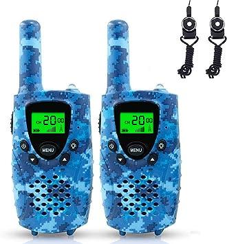 Walkie Talkies, Niños PMR 446 MHz 0.5W 8 Canales, LCD Pantalla Función VOX Linterna Incorporado con Larga Distancia, Regalos de Cumpleaños Chico Juguetes de Niños (Camuflaje Azul): Amazon.es: Juguetes y juegos