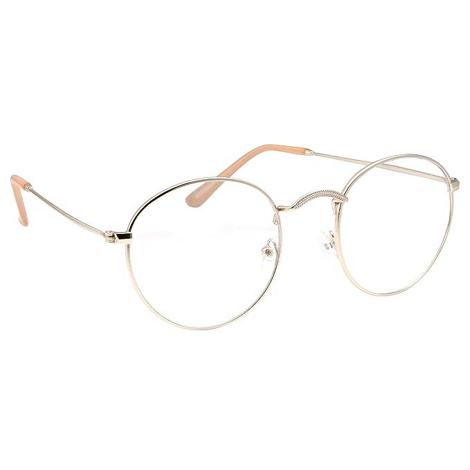 f20d241354fe1 Retro Round Clear Lens Glasses Metal Frame