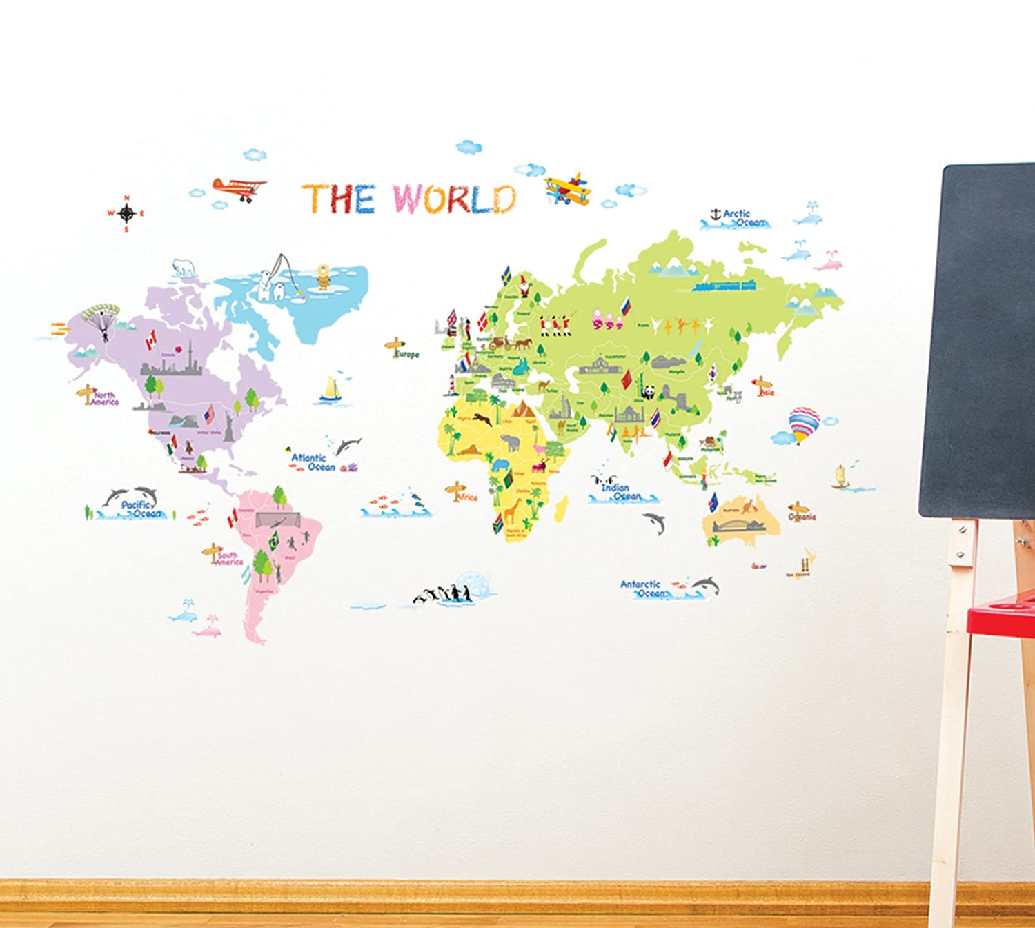 Decowalldp 08200colourful world maphome art decoration wall decowalldp 08200colourful world maphome art decoration wall stickerswall decalswall transferswall tattooswall sticker amazon kitchen home gumiabroncs Images