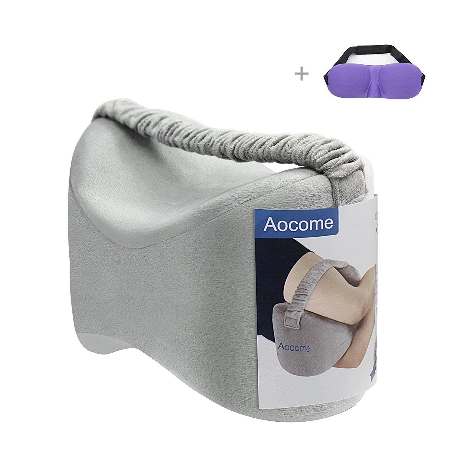 Aocome Knee Pillow for Side Sleepers - Ergonomically Designed for back pain,Sciatic Nerve Pain Relief,Leg Pain, Pregnancy, Hip and Joint Pain - Memory Foam Leg Pillow (Bonus Sleep Mask)