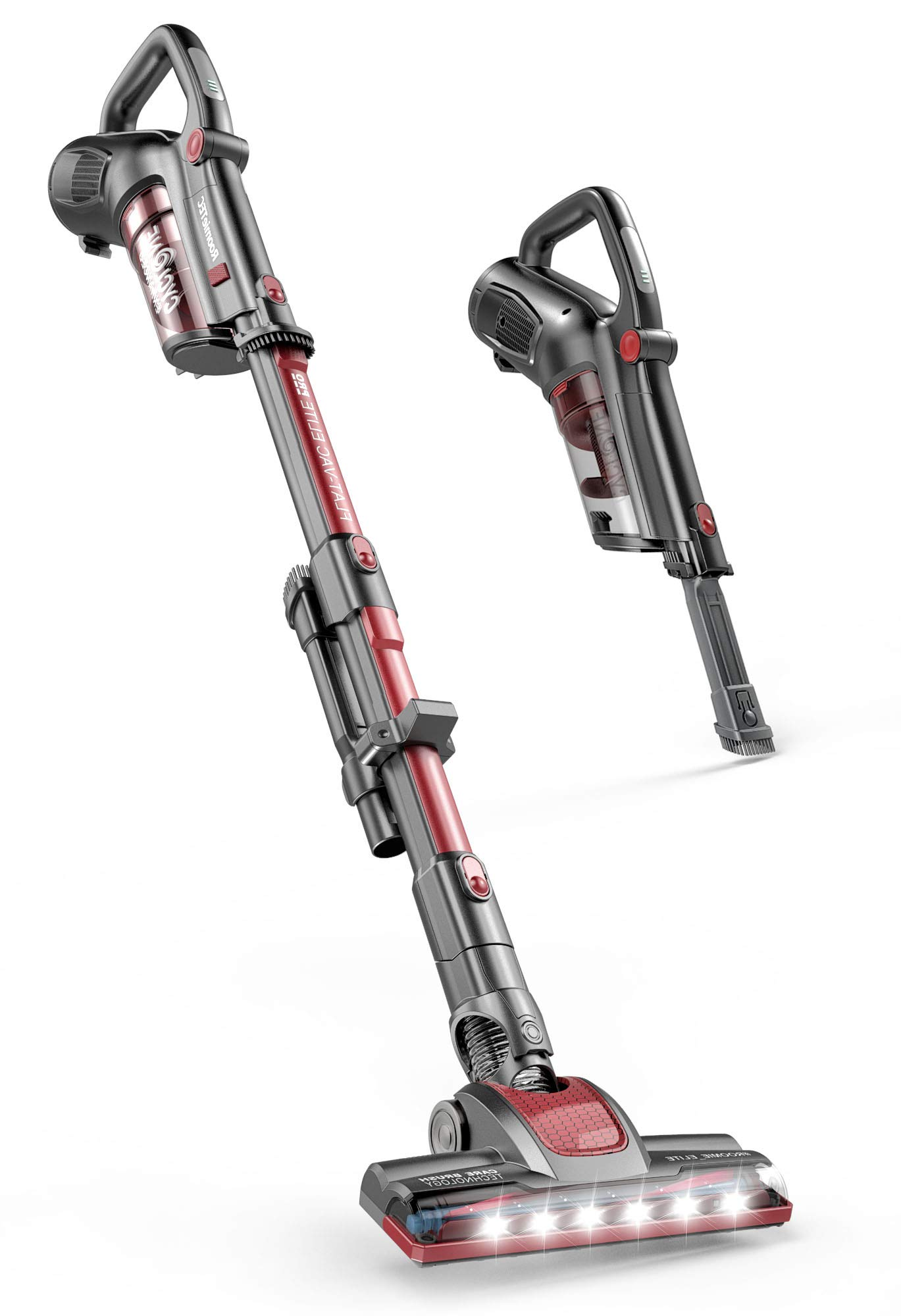 ROOMIE TEC Cordless Stick Vacuum Cleaner with Stand-Alone Battery, HEPA Filter for Pet Hair, 2 in 1 Handheld Dust Buster with Powerful Suction, Low Reach Design & LED Headlights by Roomie Tec