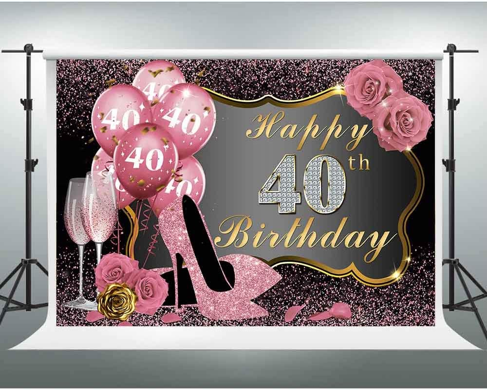 New Happy 40th Birthday Backdrop for Women Forty and Fabulous Photography Background 7x5ft Pink Floral 40th Birthday Backdrops for Party 40 Birthday Photo Backdrop Cake Table Studio Photobooth Decor