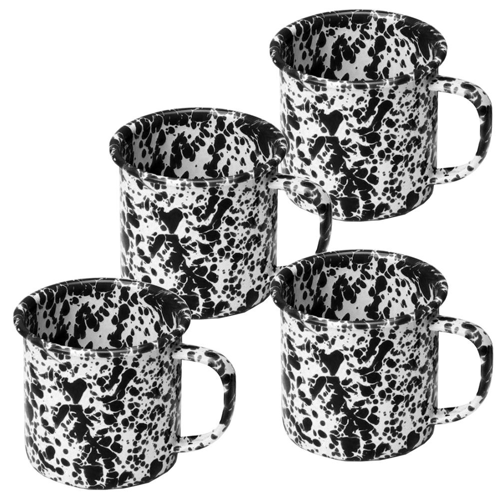 Enamelware Coffee Mugs - Set of 4 - Black Marble
