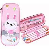 Girls Pencil Case, Cartoon Large Capacity Storage Case Pouch Marker Pen Case Hardtop Zipper Stationery Bag School Office Orga