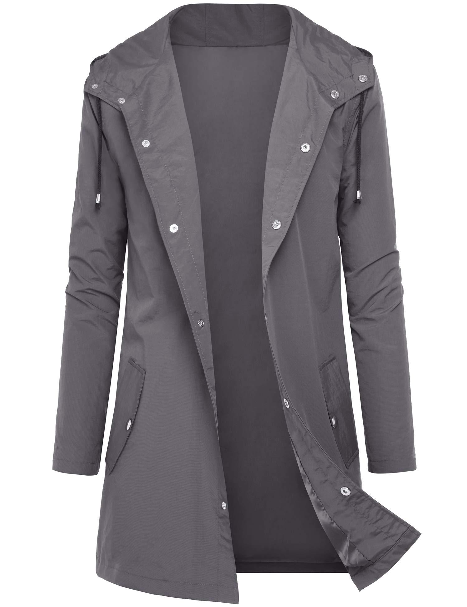DOSWODE Men Waterproof Raincoat Hooded Windbreaker Lightweight Long Rain Jacket Active Outdoor Trench Grey_M