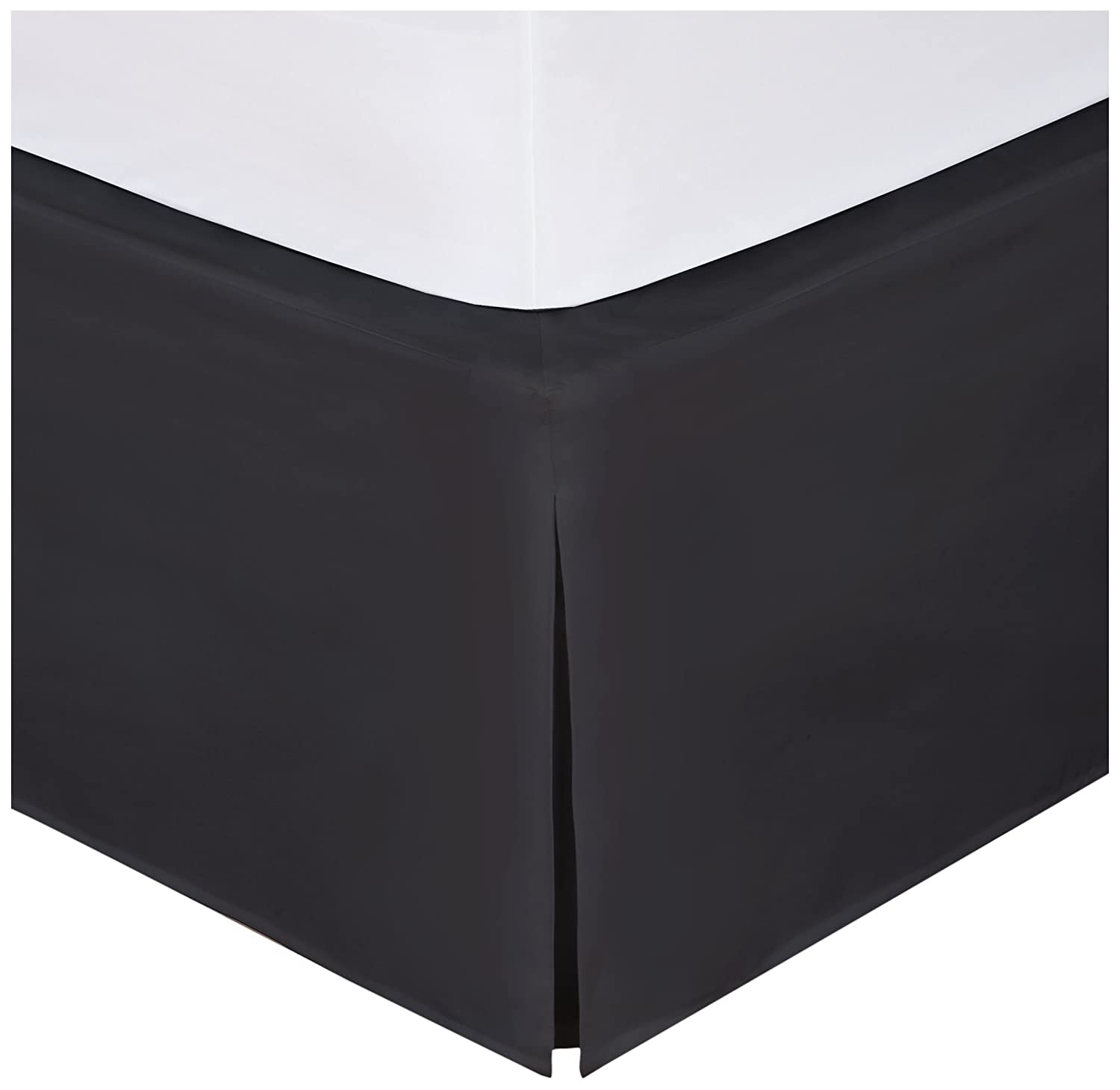 "Levinsohn Magic Skirt Tailored Bedskirt, Never Lift Your Mattress, Classic 14"" drop length, Pleated Styling, Twin, Black FRE24514BLAC01"