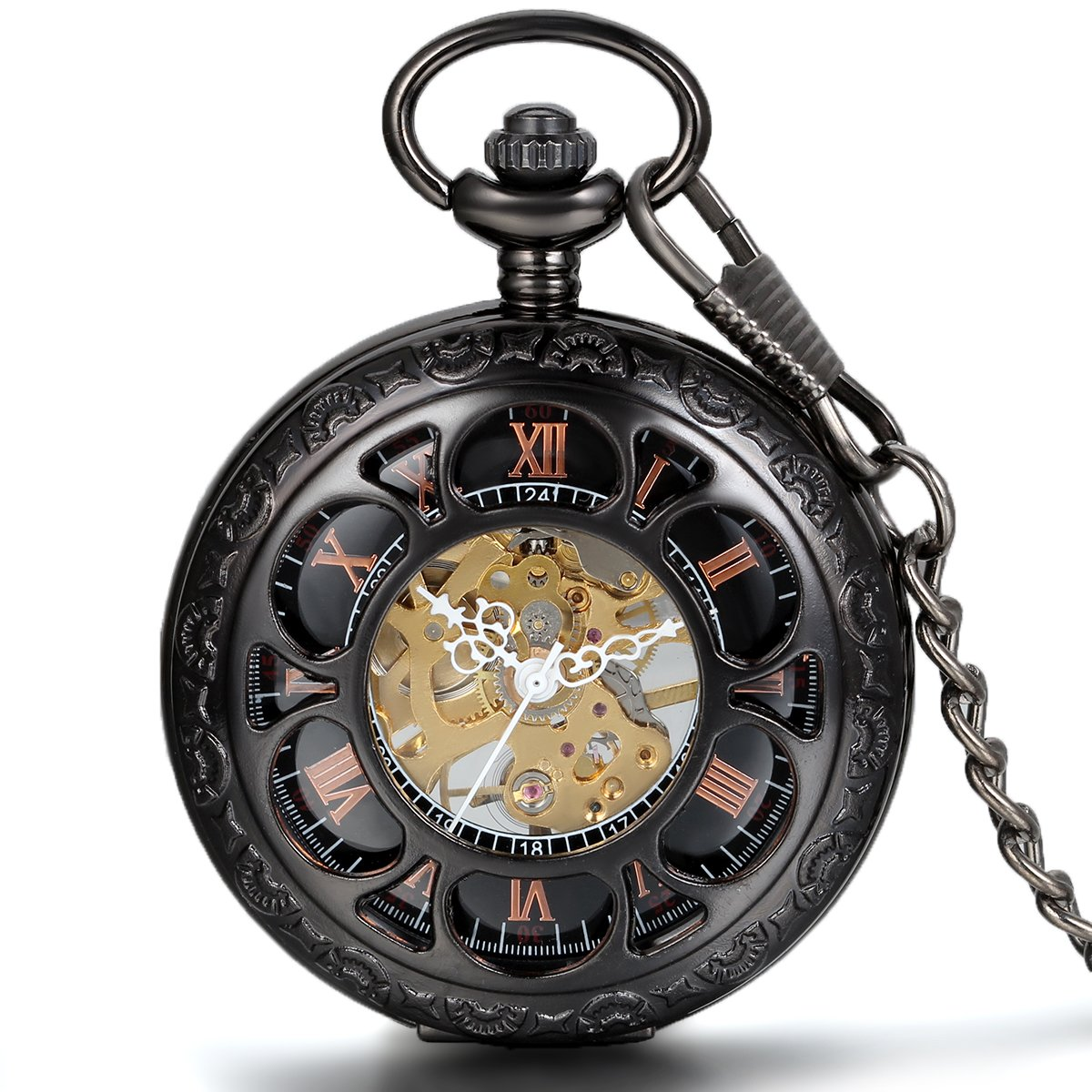 JewelryWe Half Hunter Pocket Watch with Chain Black Dial Steampunk Mechanical Hand Wind Movement