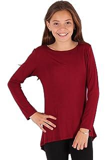 35273f0b2b0 Lori & Jane Girls Long Sleeve Boho Tunic Top, Solid Color, Fluid Movement,