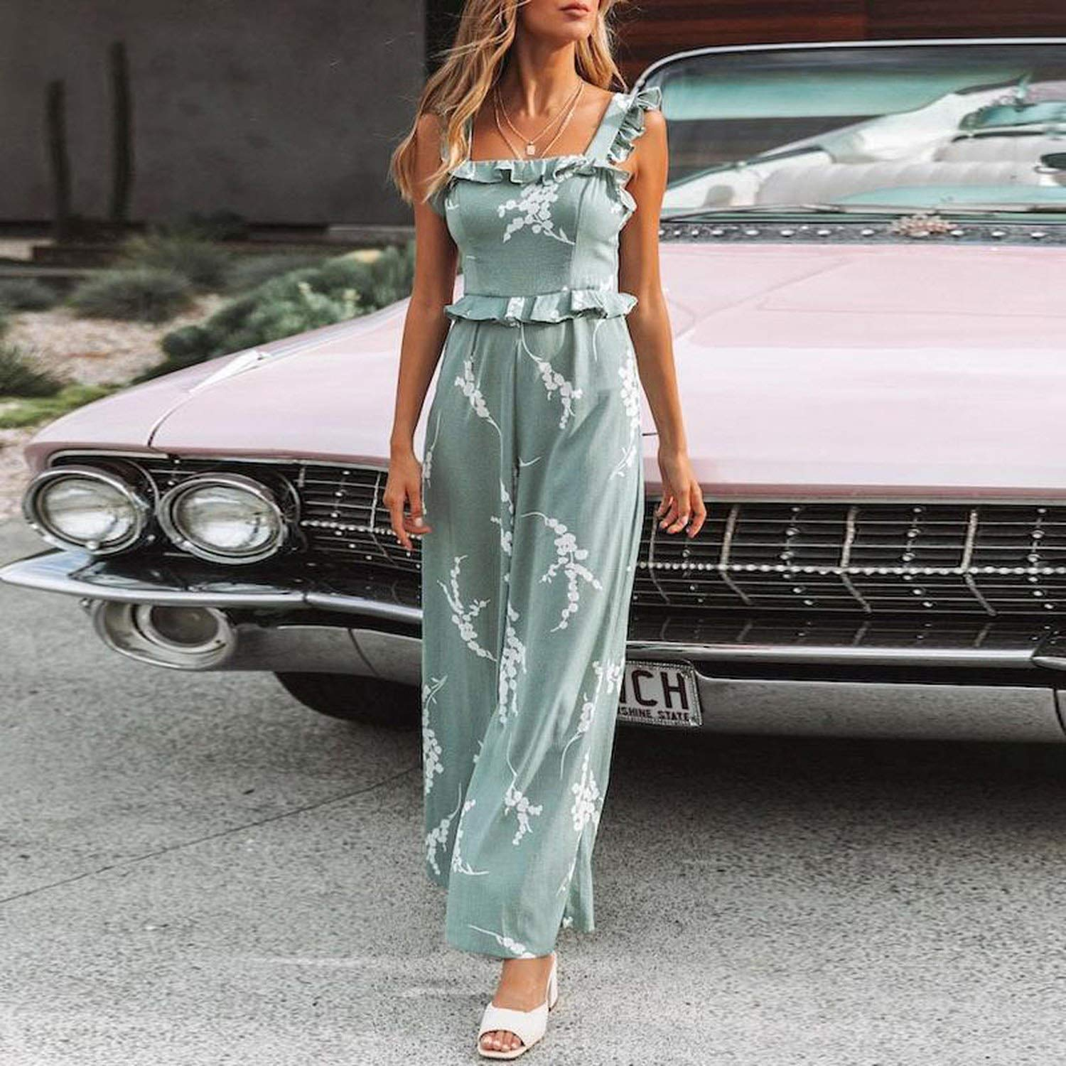 YOKIOR Fashion Print Green High Waist Jumpsuit Women Summer Backless Wide Leg Long Rompers Plus Size Bodysuit