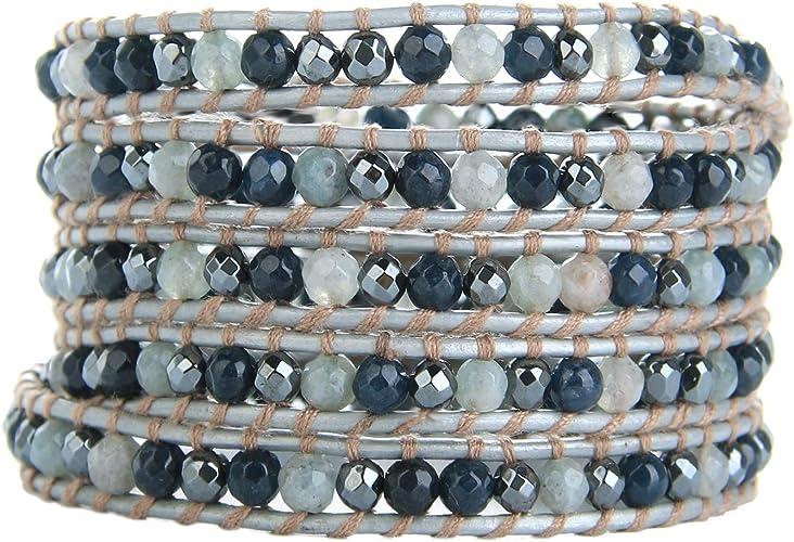 """Genuine Leather With Mix Gem Stone /& Tibet silver Beads 34/"""" Wrap Bracelet"""