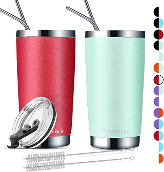 Set of 2 Red Color Splash Tumbler 16oz Double Wall