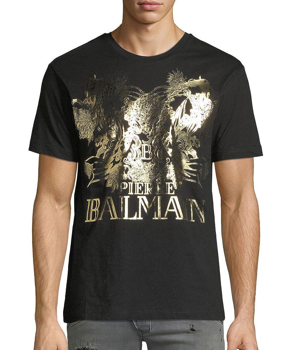 Pierre Balmain Koi Logo Gold Print Tee Black 250 Amazon