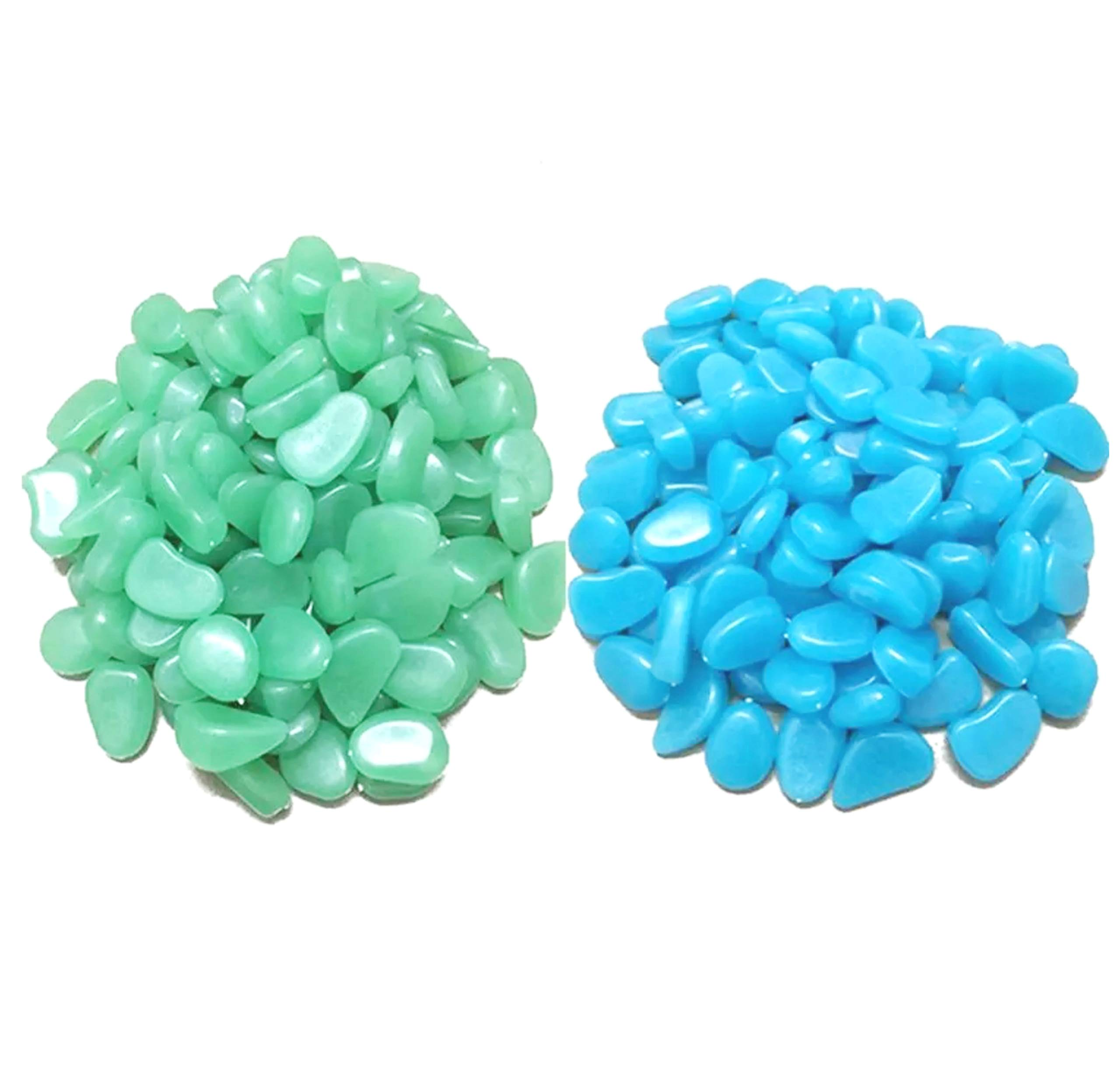 Luminous Stones Green Blue Decorative Stones Glow In The Dark Pebbles For Garden Patio Walkways Fish Tanks Home Office Garden Decor Glowing Pebbles - 200pcs (Green Blue)