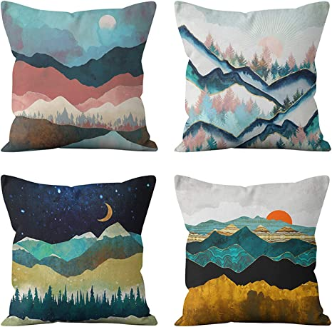 Heyhousenny Cartoon Landscape Mountains Decorative Watercolour Throw Pillow Covers Tree Bright Cushion Covers Square Outdoor Pillowcase For Sofa Set Of 4 Forest Sun Moon Home Kitchen